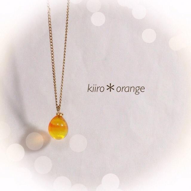 【再販】R-37 一粒のしずく☆ガラス玉のネックレス オレンジ