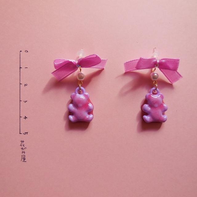 ジャムくまのピアス…ピンクと紫