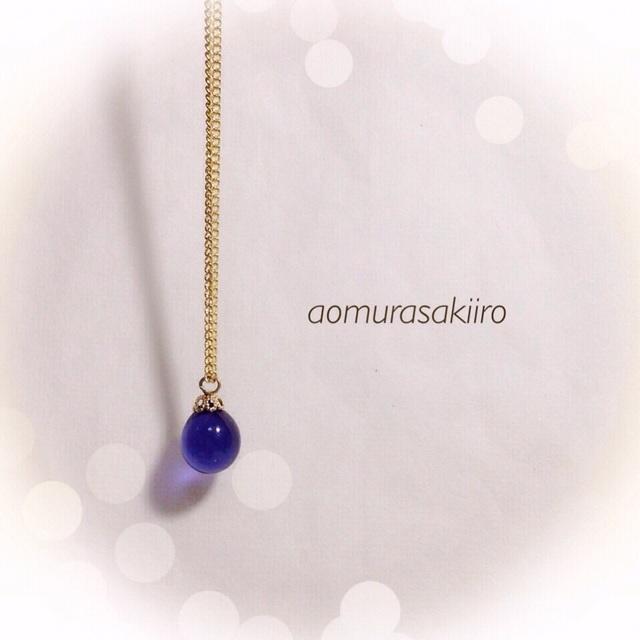 【再販】R-77 一粒のしずく☆ガラス玉のネックレス*パープル(青紫)