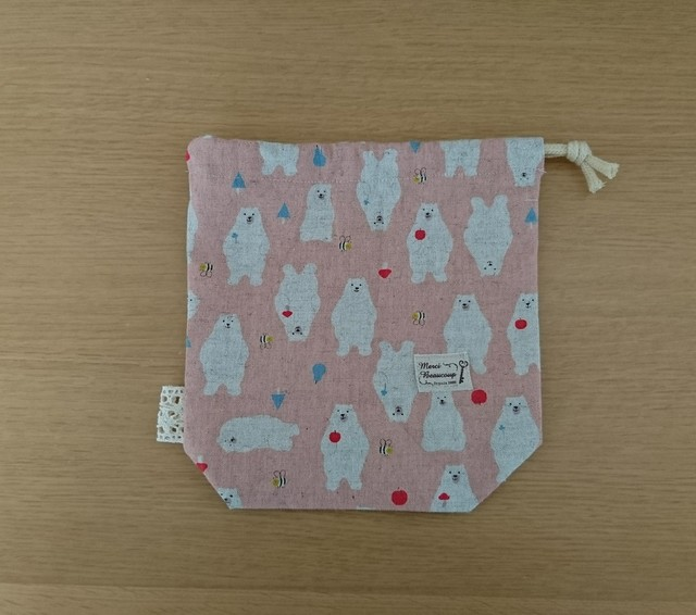巾着袋 歯磨きコップ袋 小物入れ ピンク かわいいくまさん