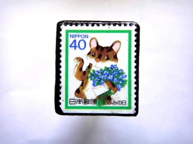 日本1988年 猫 切手ブローチ792