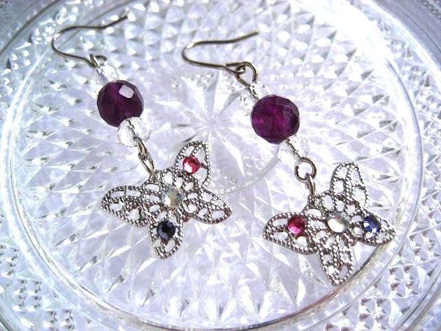紫フローライトと銀蝶のピアス_280