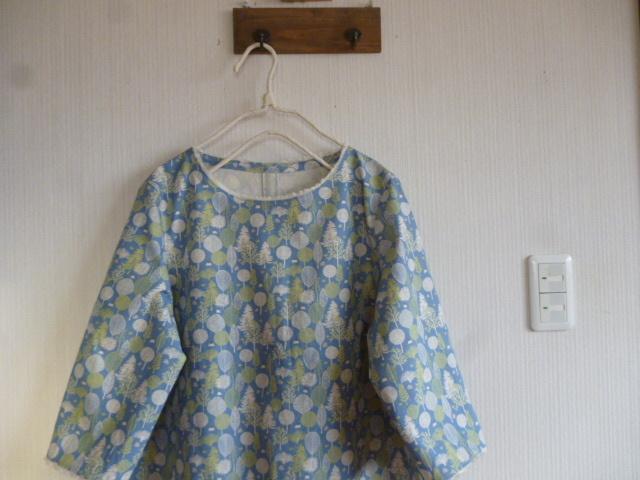 北欧調綿麻のコクーンワンピ眠りの森水色