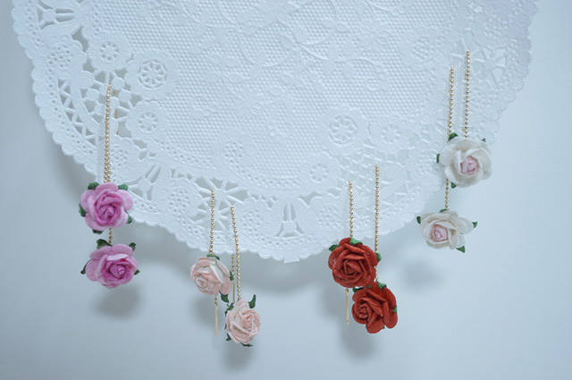 【 rose rose 】Chain Pierced Earring