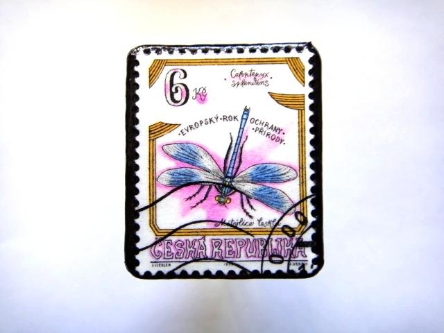 チェコ共和国 切手ブローチ801