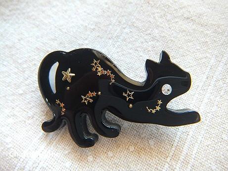 黒猫に星☆ブローチ