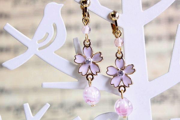 桜イヤリング(ピンク)