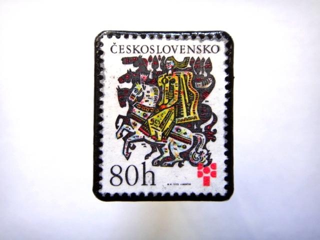 チェコスロバキア 童話切手ブローチ805