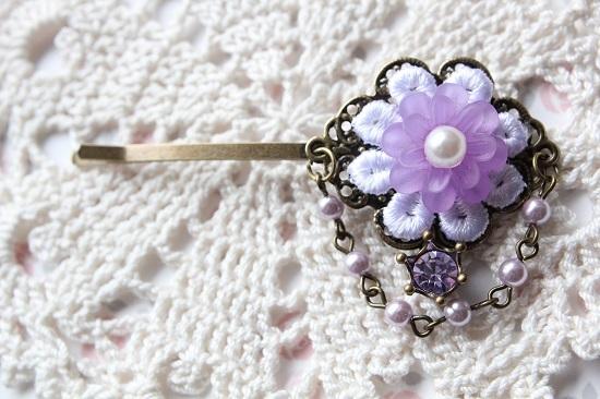 お花とパールのヘアピン「バイオレット」送料無料
