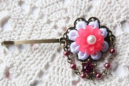 お花とパールのヘアピン「ローズ」送料無料