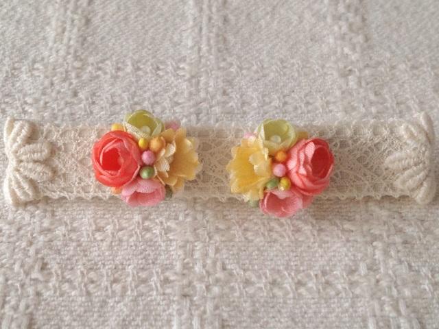小花のくっつきピアス(ピンク&オレンジ&黄緑)