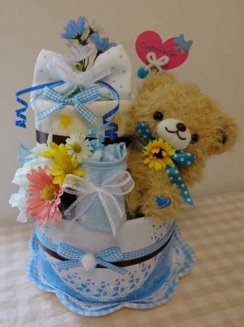 ブルーくまちゃん2段おむつケーキ
