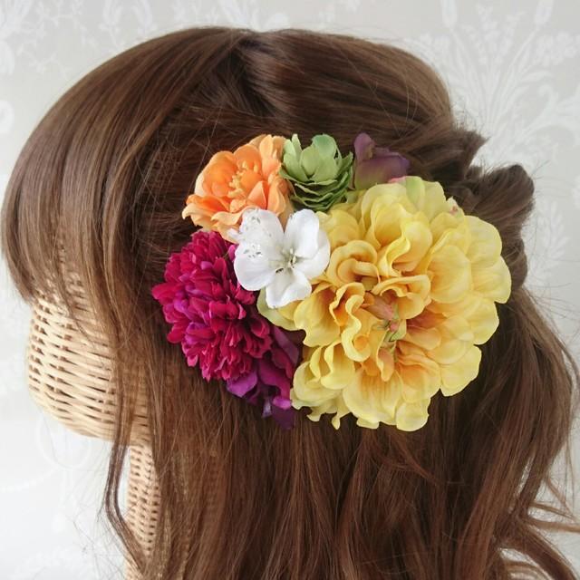 和装☆髪飾り*黄色×紫×オレンジ×緑×白* 結婚式・二次会・成人式・振り袖