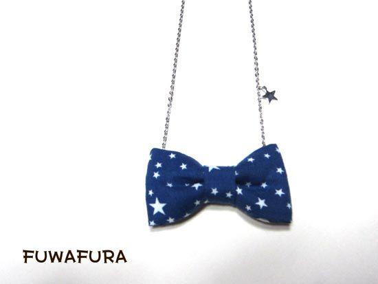 星がキラリ☆星柄リボンのネックレス