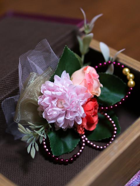マムとローズの髪飾り(2)〜ピンク&ダークレッドVer.