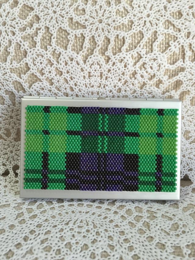 カードケース(グリーンのチェック柄)