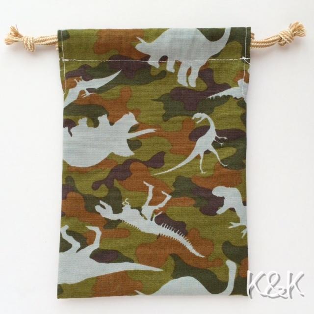 ダイナソーカモフラージュ 巾着袋(Sサイズ)