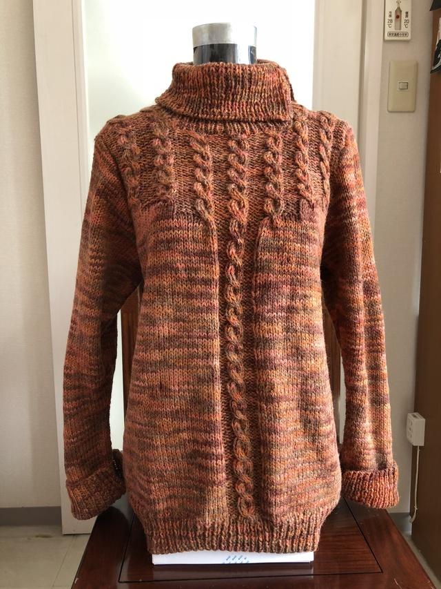婦人 セーター・エリ、そで 共に ダブルカフス 段染め糸 Lサイズ