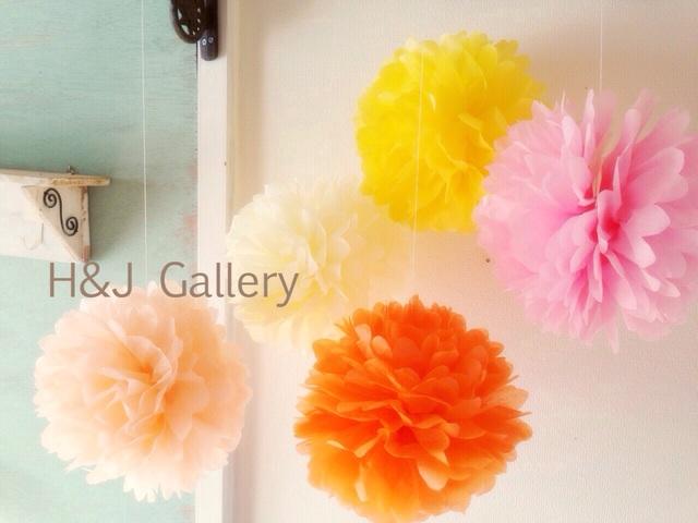 ○フラワーポンポン ピンク色系5色セット