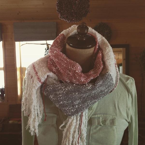 手織り コットン100% Red&Gray