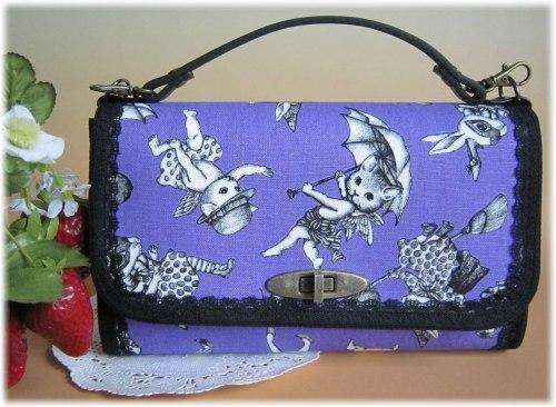 ワンダーアニマル大人ゴシックな紫×黒お財布バック