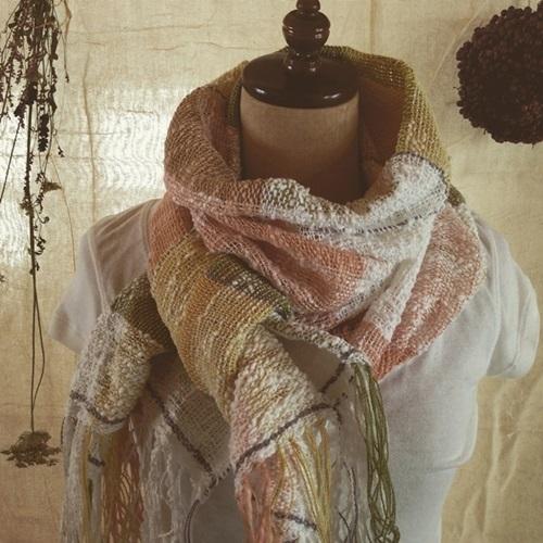 手織り 春色のコットンストール