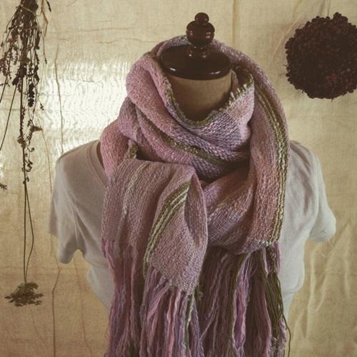 手織り 昼夜織の桜色コットンストール