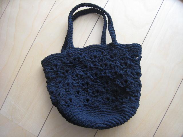 模様編みのニットバッグ〜ブラック〜