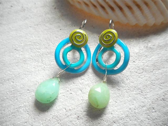 Blue Swirl With Chrysoprase earrings