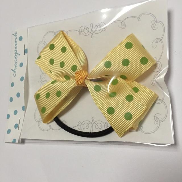 送料無料!ふんわりビッグリボンゴム 黄色×緑ドット