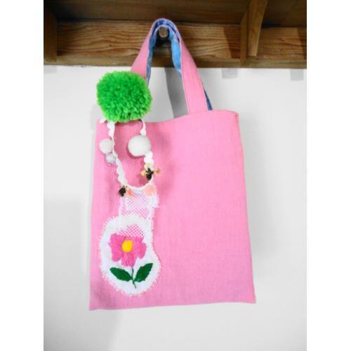 ピンクのお花トート A
