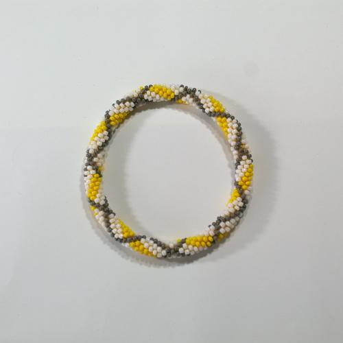 Bead Crochet Bangle Check Yellow  ビーズクロッシェ バングル チェックイエロー