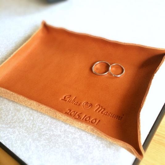 贈り物にも♪本革 名入れ 刻印 アンティーク レザー トレー 小物置き