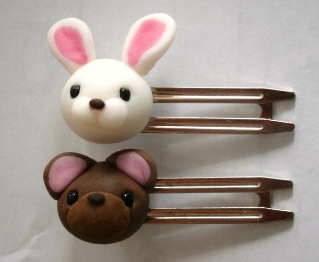 ウサギとクマのヘアピン