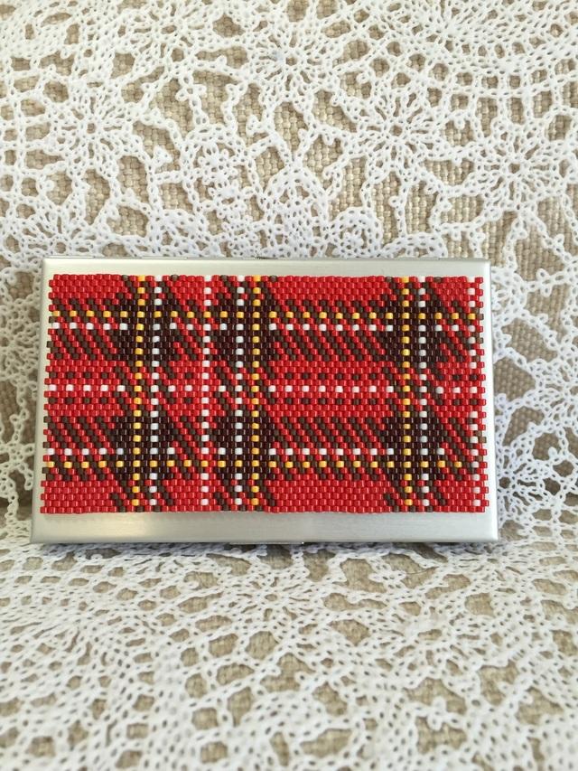 カードケース(赤チェック柄)