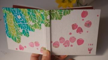 100のこと「春いちご」 型染め手帳