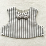 gray  stripe×gingham tie bib