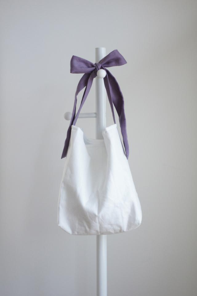 (受注製作)リネンキルティングリボンのバッグ(スミレ)