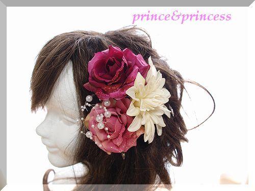 ピンクローズの髪飾り