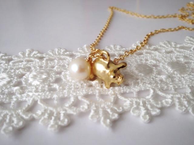 24Kコーティング ブタに真珠 ネックレス