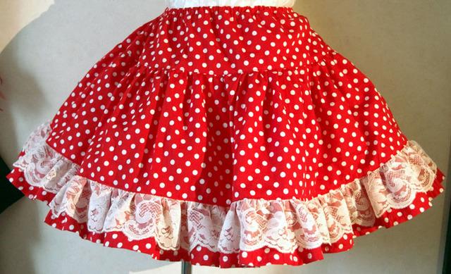 セール! 赤×白ドット 3段ティアードスカート