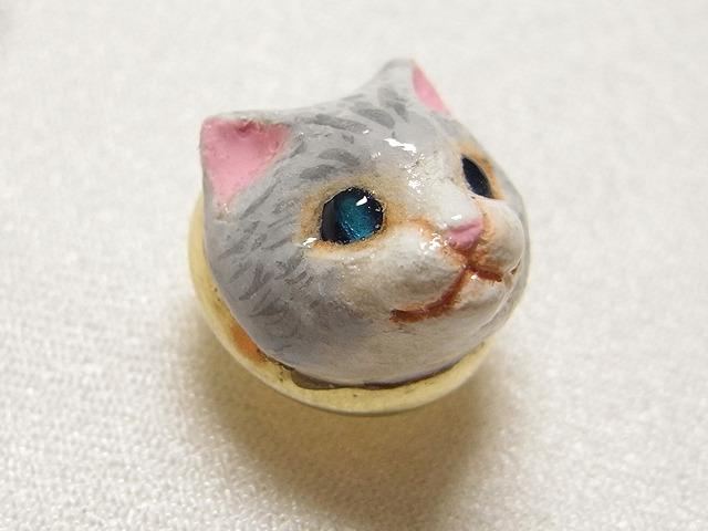 ネコさんタックピン(灰ネコ)