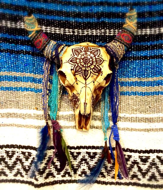 henna art bull skull wall mounth ハンドメイドマーケット minne