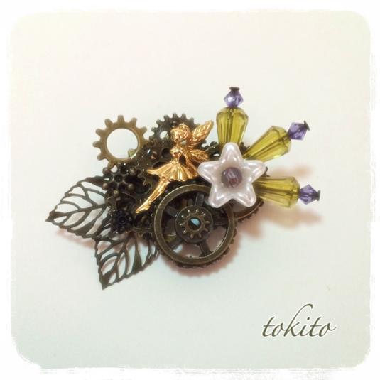 一点物*ティンカーベル*妖精と花と歯車のブローチ