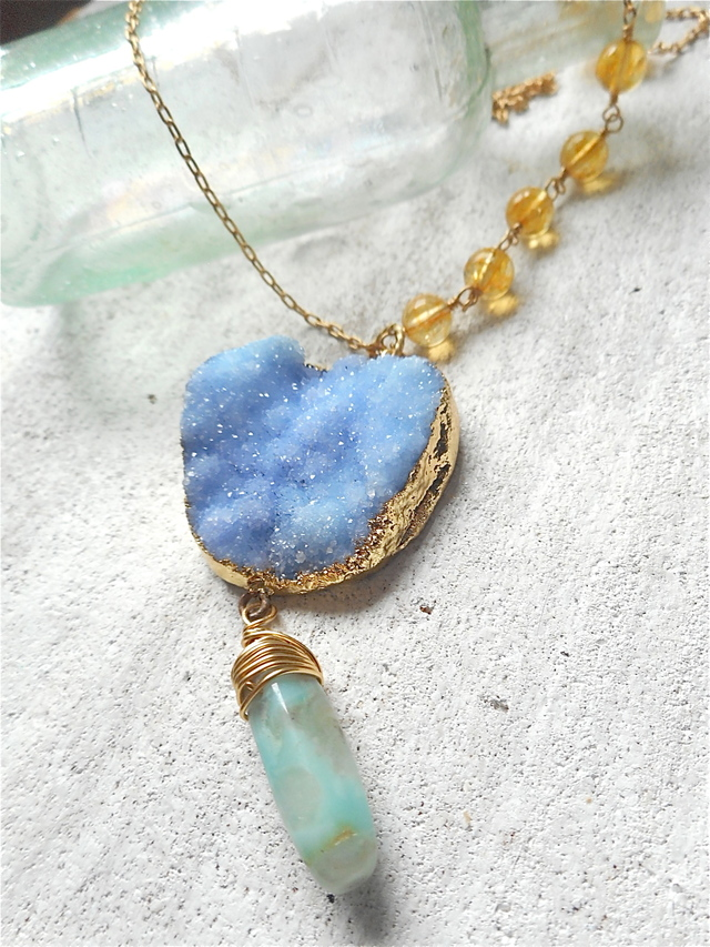 Druzy Ocean Necklace--Forget me not blue/シトリン