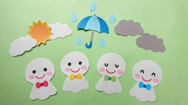 壁面飾り♪ 6月/梅雨 てるてる坊主♪