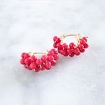 14kgf*Red Coral wrapped pierced earring/earring