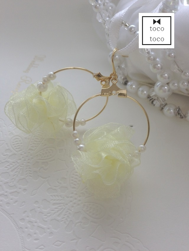 pon-pon pierce/earring��yellow��