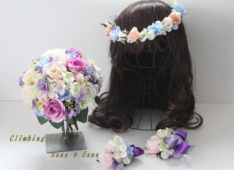 オーダーブーケ、ブートニア、花冠、リストレット 4点セット 造花タイプ