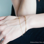 【14KGF】Hammered Open Chain Wire Bangle